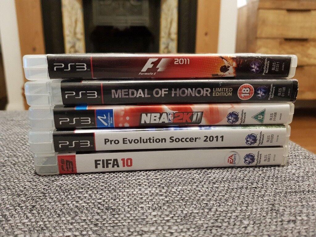 PS3 Playstation 3 games bundle, FIFA, Pro Evolution Soccer, NBA 2K, Medal of Honour, Formula 1