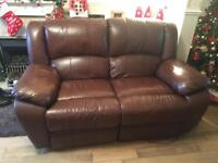 Brown Leather 3 seater and 2 seater electrical reclining sofas for sale
