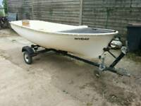 12 foot fishing leisure boat with 3.6 Mercury outboard and trailer