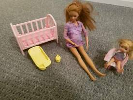 Pregnant Barbie and toddler
