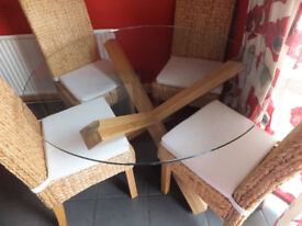 solid oak table and 4 chairs solid oak chairs with wicker effect rrp£650