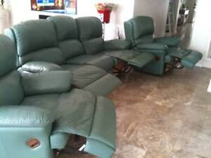 PEGAR Leather lounge 1x 3 seat and 2 x 1 seat , 4 recline EUC Cleveland Redland Area Preview