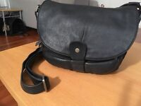 Black Leather besace / pouch bag Sabrina (french brand)