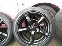 SET 4, STUNNING,REFURBED BLACK,16 INCH ALLOY WHEELS,4 X 114.3/114,C/W CENTRES,C/W EXCEL 205/55/16 S