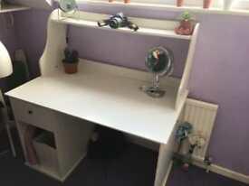 Ikea white desk, large with shelf