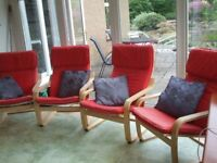Ikea Poang armchairs and cushions (4)