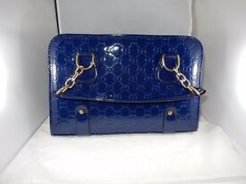 New - Patent Leather Hand / Shoulder Bag in Blue (30 x 20cm)