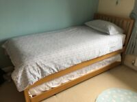 John Lewis Wilton Trundle Guest Bed -Solid Oak inc. Mattresses