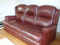 Quality 'Sherbourne Malvern' 3 and 2 seat matching leather sofas, in chestnut brown, from F Knighton
