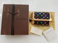 100% Genuine Louis Vuitton Noir Multicolor Porte Monnaie Plat Coin Purse Takashi Murakami