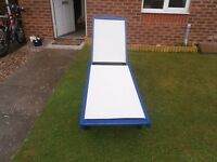 outdoor wood frame sun lounger