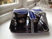 Pimpernel Cafe Italiano Porcelain Coffee Mugs and Tray by Portmerion RRP £16 Brand new Gift