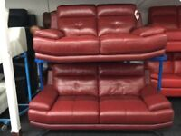 New/Ex Display Red Leather Genoa 3 + 2 Seater Sofas