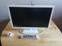 White 24inch tv with built in dvd