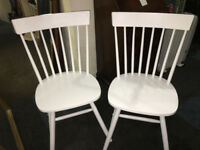 Fine Pair of White Solid Country Kitchen Style Occasional/ Bedroom Chairs