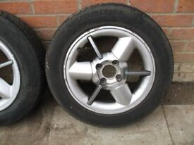 Alloy wheels with tyres. Set of 4. 165/70 R14. 4x100 PCD. Renault