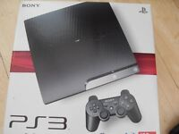 PLAY STATION 3 SLIM 120 GB BOXED LIKE NEW WITH 13 GAMES AND 3 CONTROLLERS PERFECT CONDITION