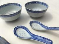 Chinese dinner bowls with spoons