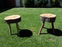 Pair of wooden garden stools.