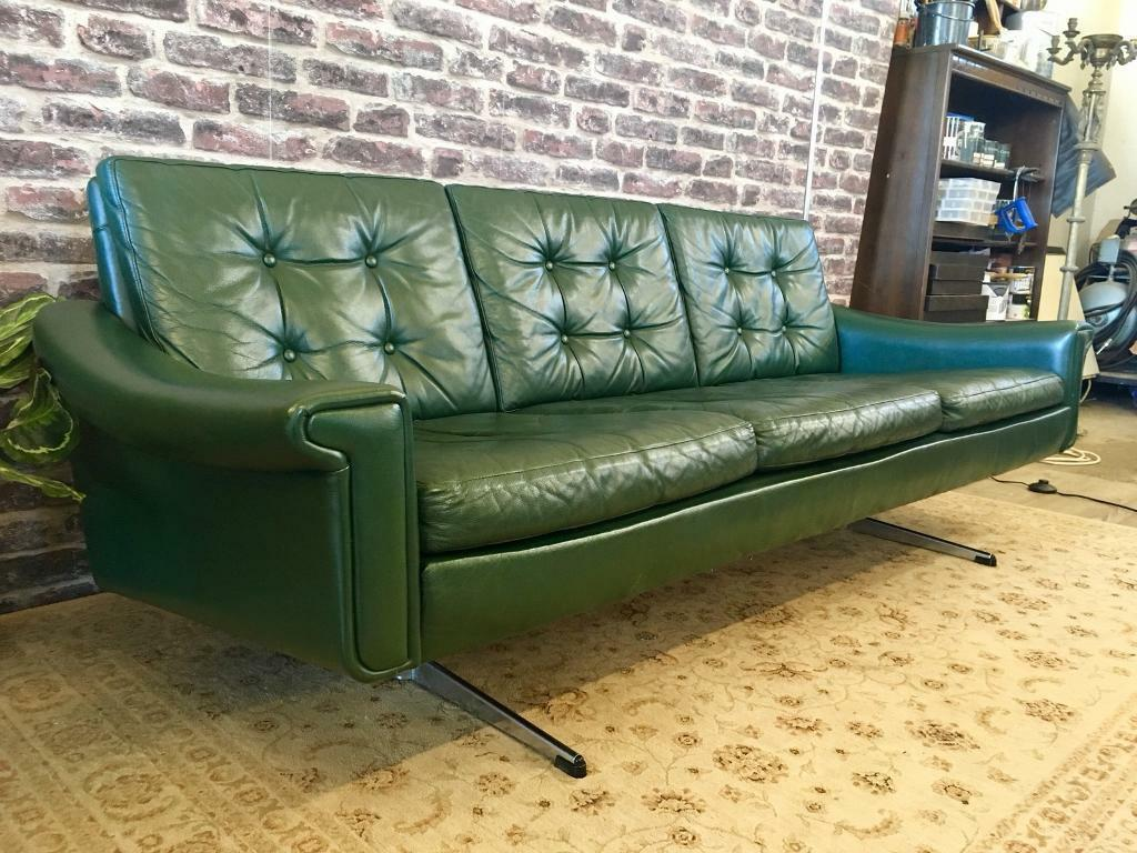 Vintage 1960s danish 3 seater green leather sofa button back 1960s