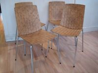 Stylish set of 4 Kitchen / Dining Chairs - Stainless Steel Frame and Legs - Solid wood seat and back