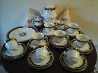 ROYAL ORCHID RARE CHINA TEA SET--8 PLACE SETTING-TEA POT-MILK JUG SUGAR BOWL -Great for Xmas Table