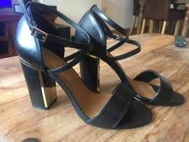 Black strappy block heels- size 5