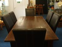 Beautiful Rustic Dining Room Table & 6 Leather High Backed Chairs