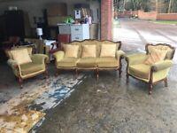 Velvet gold 3 seater 1 chair £395 read full advert