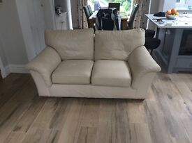 Marks & Spencer cream leather large two seater sofa