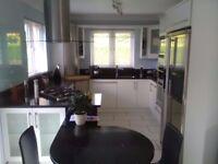 Complete Modern White Kitchen with Black Sparkle Quartz Worktop + Appliances - Pristine Condition .