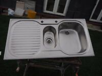 franke sink, stainless steel, left hand drainer, 1 1/2 bowl, used, good condition 96.5x50x25.5cm