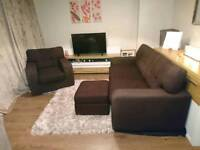 Brown Large 2 Seater Sofa,Footstool,Armchair Set, DELIVERY AVAILABLE