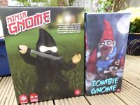 Handcrafted Ninja Gnome and Zombie Gnome: Unused and Still in Box (perfect for indoors or outside)
