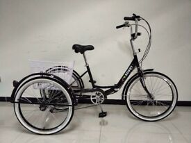 """Adults tricycle, folding frame, 24""""; wheels, 6-speed shimano gears, BuyTricycle, various colours"""