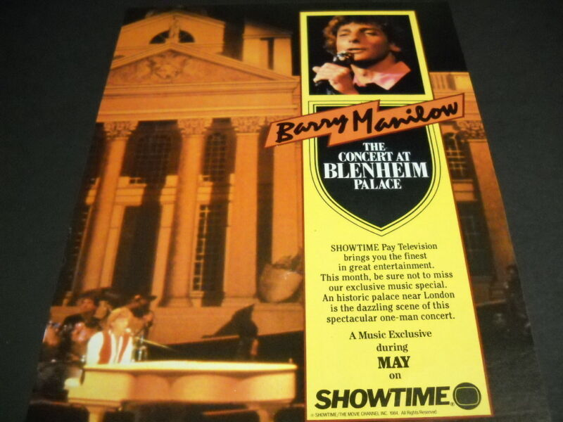 BARRY MANILOW The Concert At Blenheim Palace 1984 PROMO DISPLAY AD mint cond