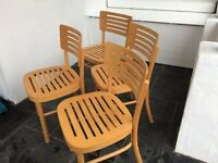 Free - 4 kitchen chairs. Pale wood. Good condition