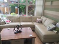 Large cream leather corner sofa