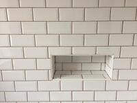 Plain white brick tiles