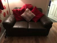 Brown leather sofas (2 seater and 3 seater)