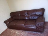 3 seater brown leather sofa (delivered free)