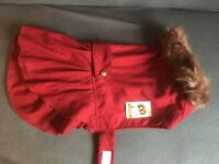 Burgundy red traditional style frilly bustle female dog coat L Large