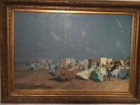 Beautiful very large impressionist oil French painting