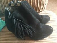 Gorgeous black suede frill boots size 5