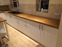 Kitchen units, worktop, sink and tap