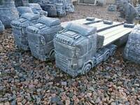 Concrete scania lorry with flatbed trailer volvo truck Michelin men tractors pickups
