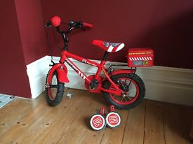 """Children's Apollo Fire chief 12"""" bike with stabilisers -good condition"""