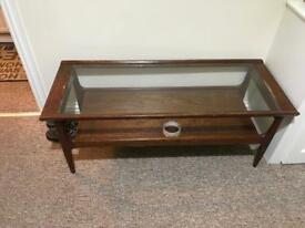 Wooden table with centre glass for sale