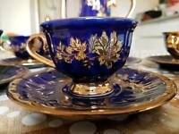 Royal blue and gold tea set