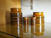 Retro storage jars Hornsea heirloom brown pottery